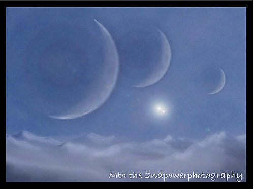 Multiple Exposure Photograph - Three Moons In A Binary Star System by Megen McAuliffe