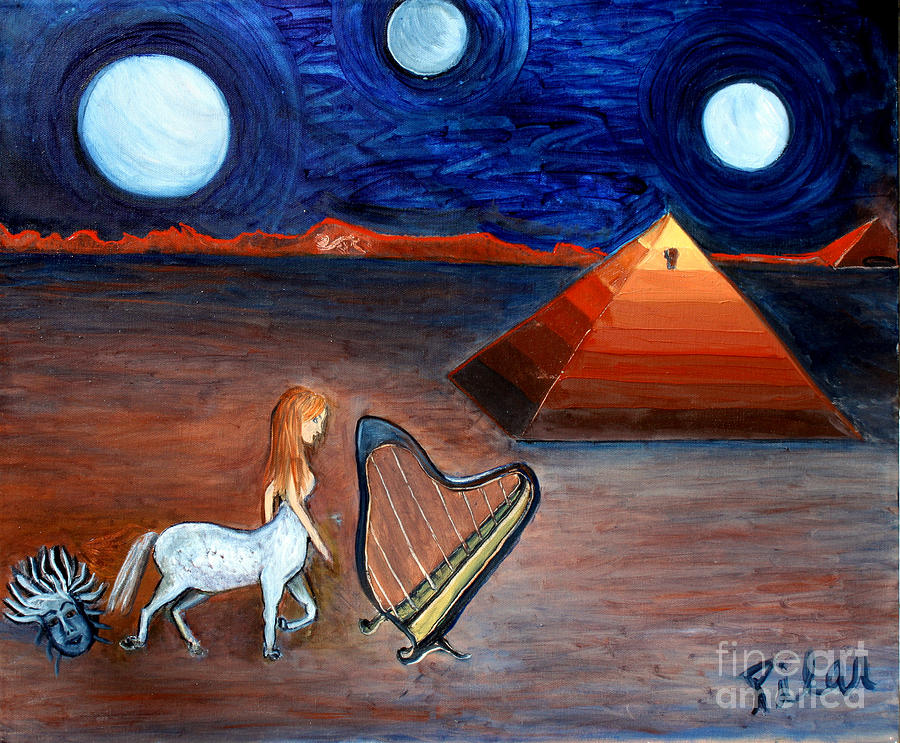 Pyramid Painting - Three Moons by Pilar  Martinez-Byrne