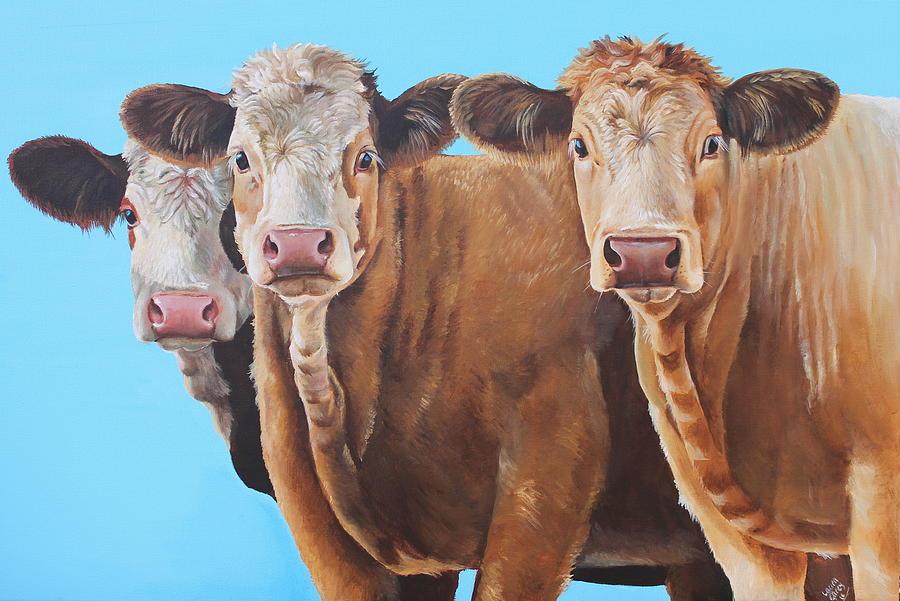 Farm Painting - Three Moosketeers by Laura Carey