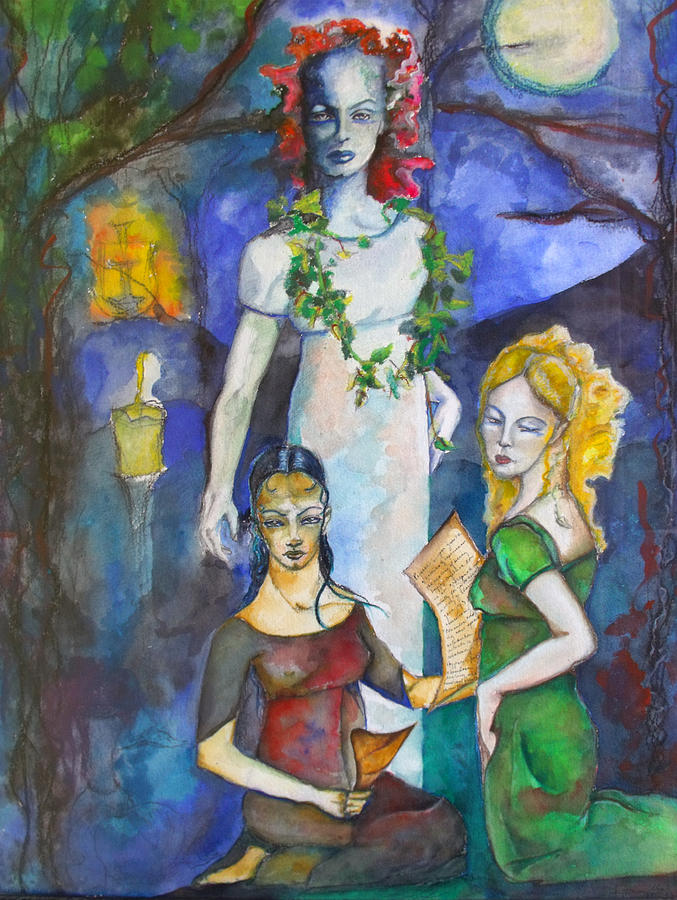 Tarot Painting - Three Of Cups by Erika Brown
