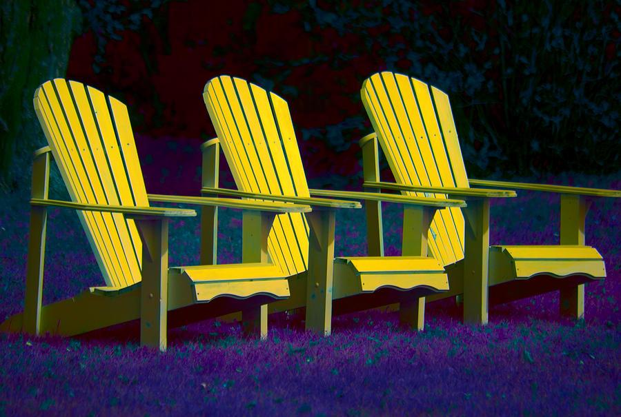 Andirondak Chairs Photograph - Three Old Friends by Elisabeth Van Eyken