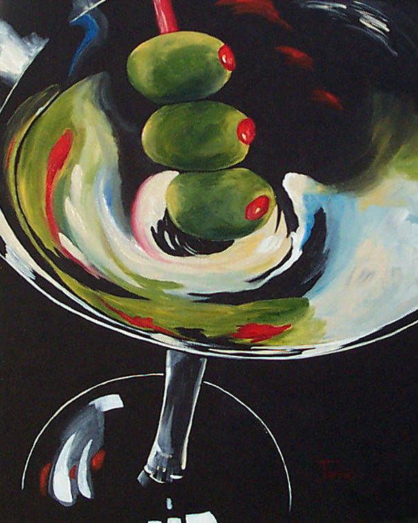 Martini Painting - Three Olive Martini IIi  by Torrie Smiley