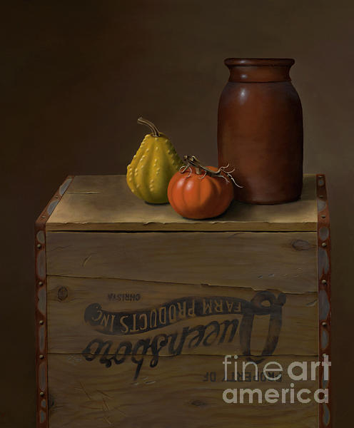 Still Life Painting - Three On A Box by Christa Eppinghaus