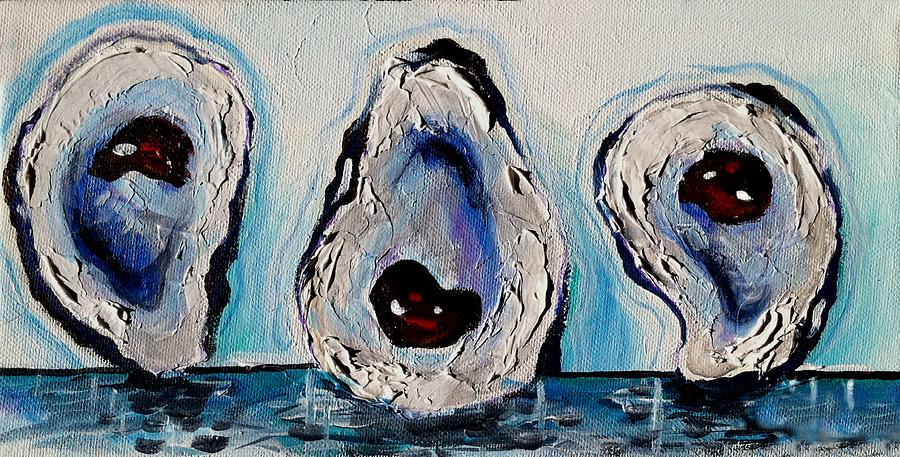 Oyster Paintings Painting - Three Oysters by Terry J Marks Sr