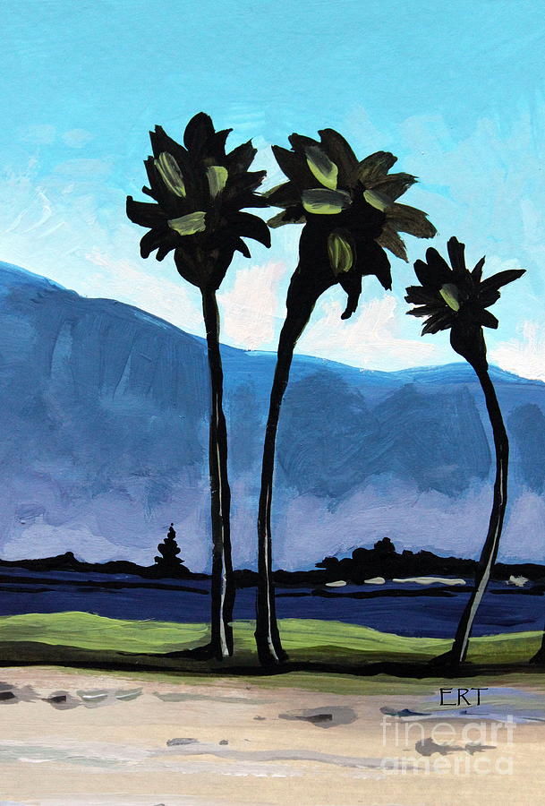 Palm Trees Painting - Three Palm Trees by Elizabeth Robinette Tyndall