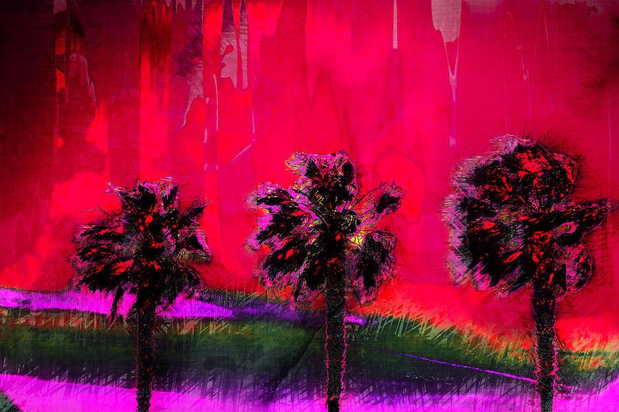 Palms Digital Art - Three Palms II by Ronald Bolokofsky