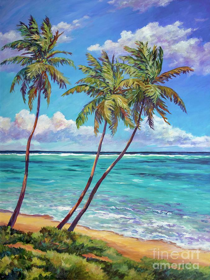 Cayman Painting - Three Palms by John Clark
