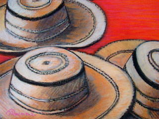 Three Panama Sombreros On Red Painting by Yasemin Raymondo