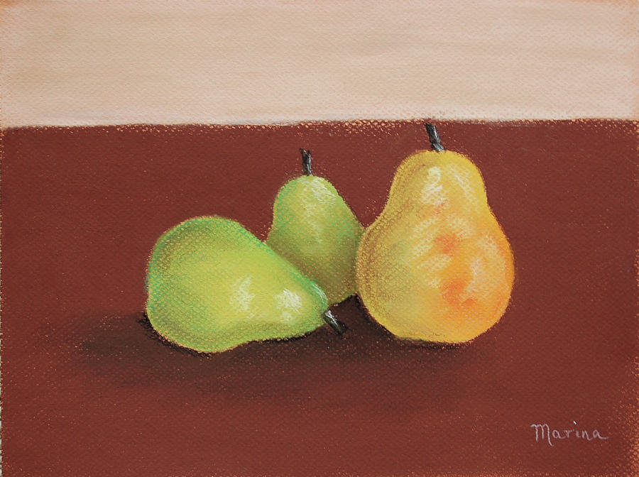 Pears Painting - Three Pears by Marina Garrison