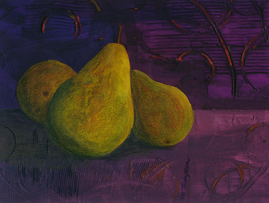 Pear Mixed Media - Three Pears by Mary Elizabeth Thompson