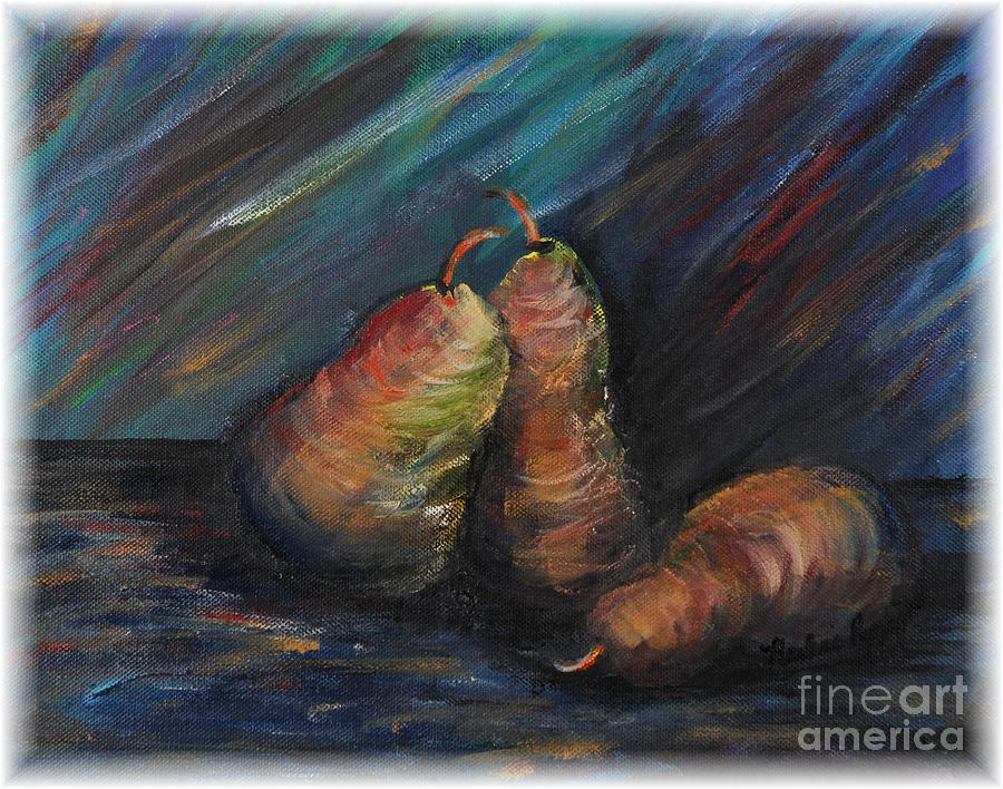 Three Pears Painting by Nadine Rippelmeyer