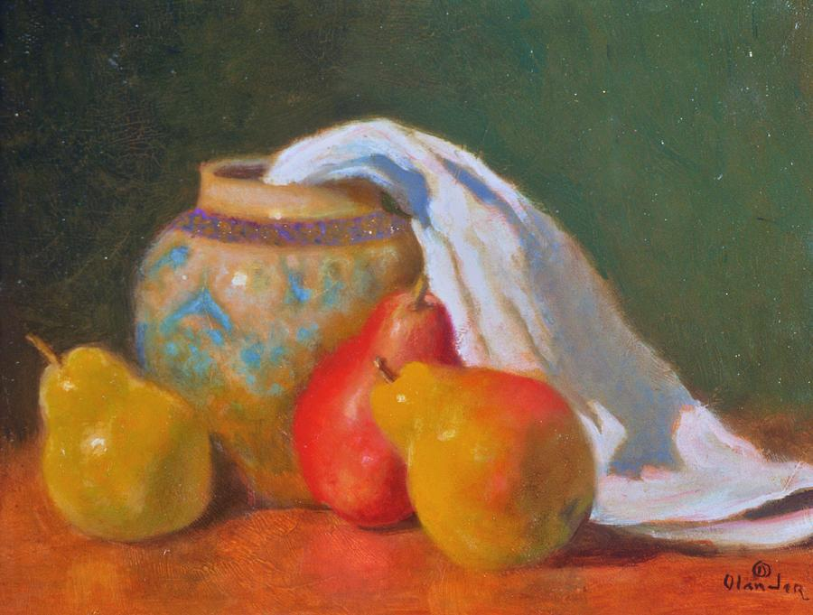 Three Pears With Persian Vase Painting by David Olander