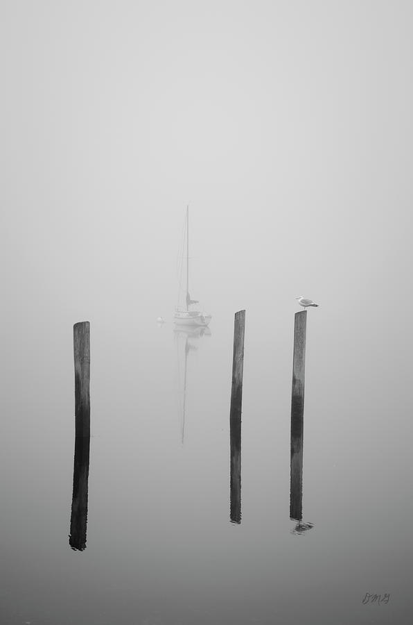 Three Pilings and Sailboat by Dave Gordon