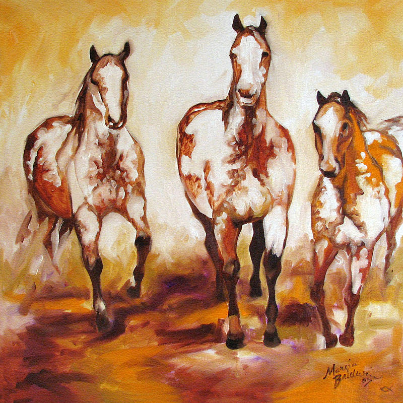 Horse Painting - Three Pinto Indian Ponies by Marcia Baldwin