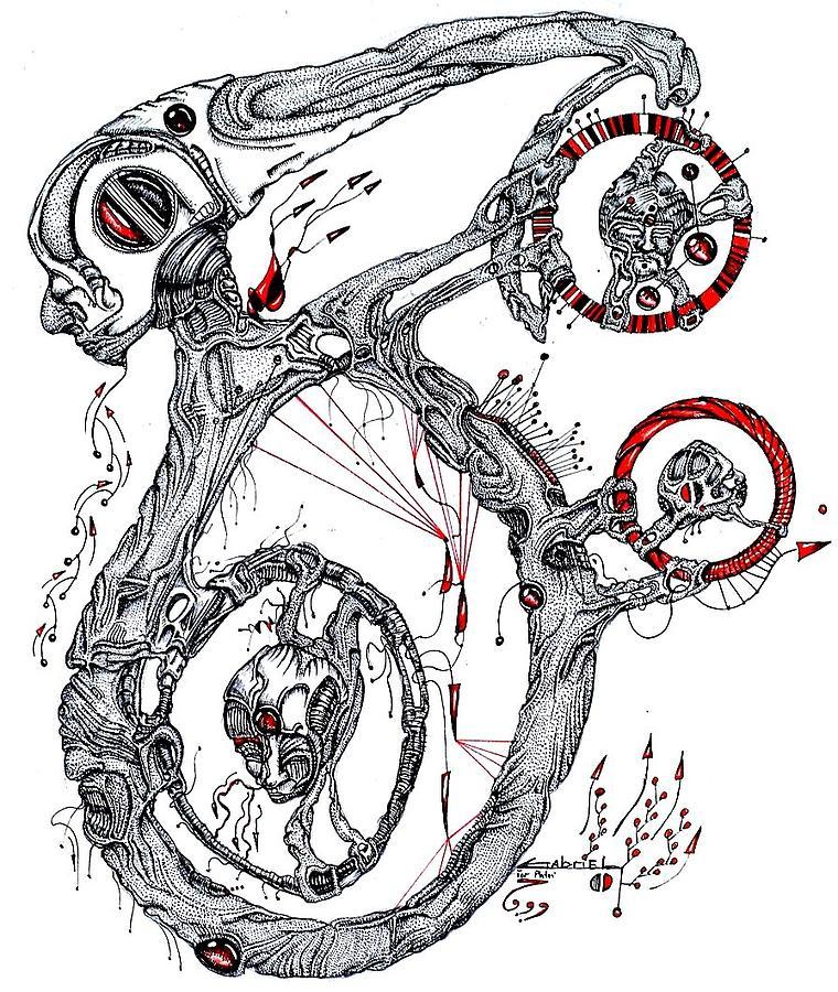 Three Plus One Drawing by Gabriel Hernandez
