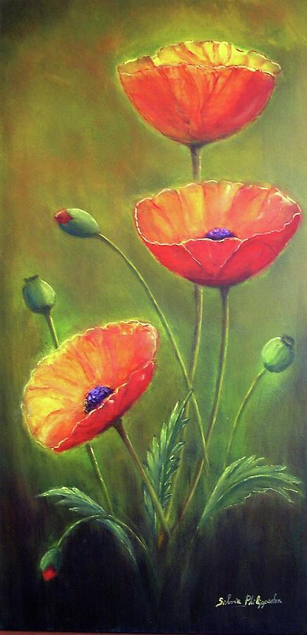 Poppies Painting - Three Poppies by Silvia Philippsohn