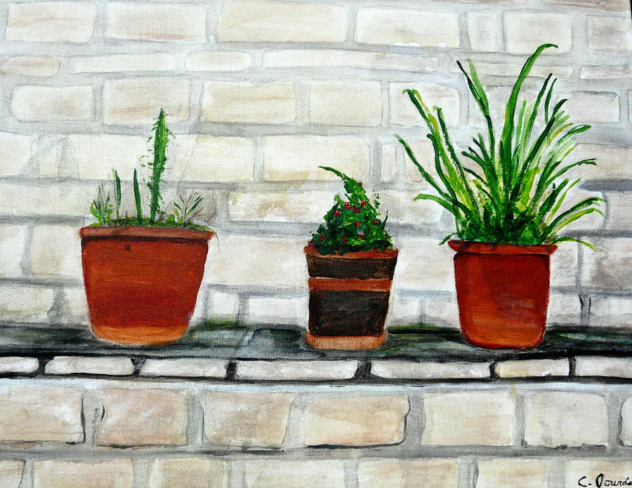 Three Pots Painting by Cathy Jourdan