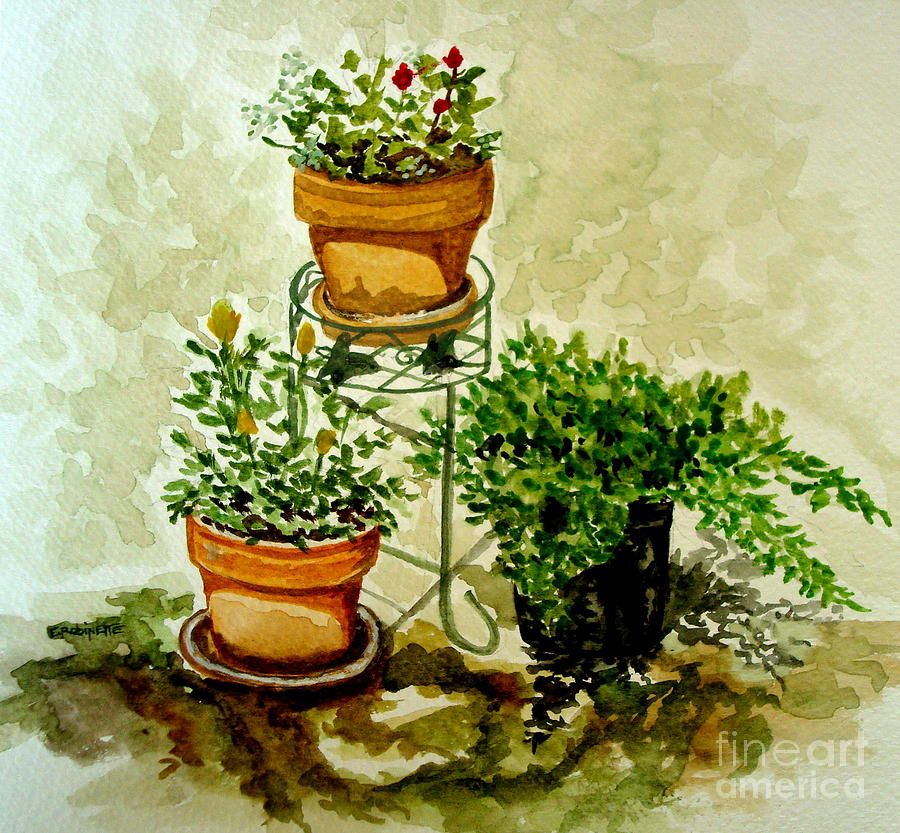 Three Potted Plants Painting by Elizabeth Robinette Tyndall