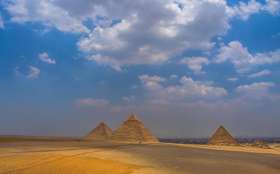 Giza Photograph - Three Pyramids of Giza by Julis Simo