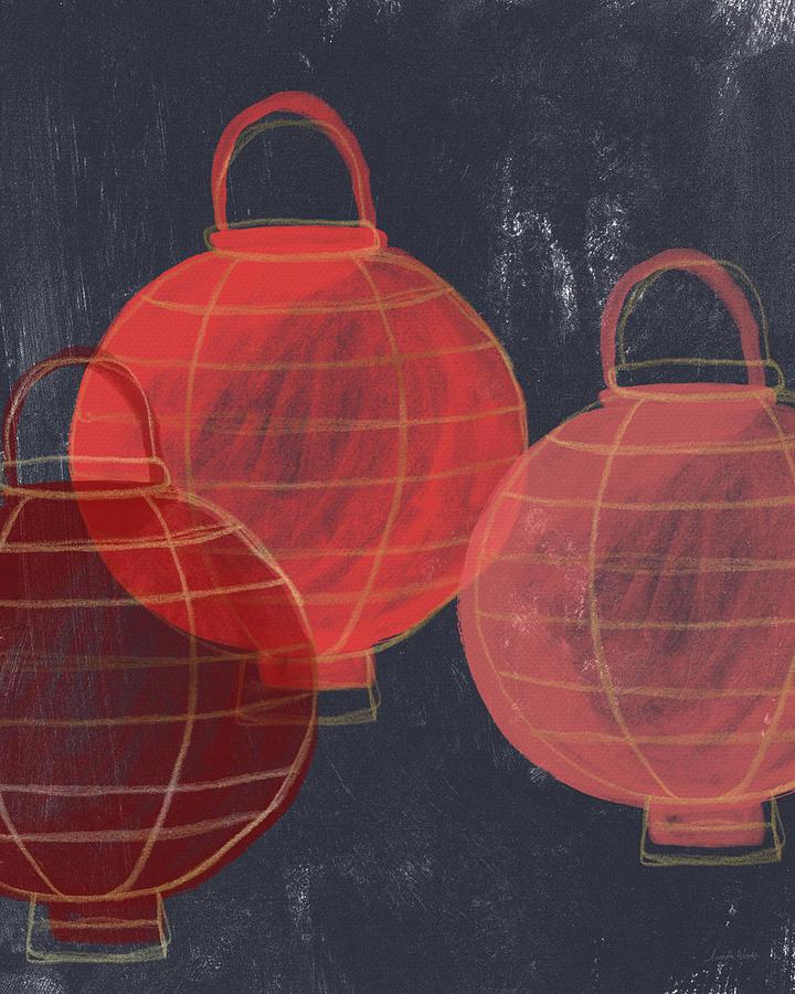 Lanterns Painting - Three Red Lanterns- Art By Linda Woods by Linda Woods