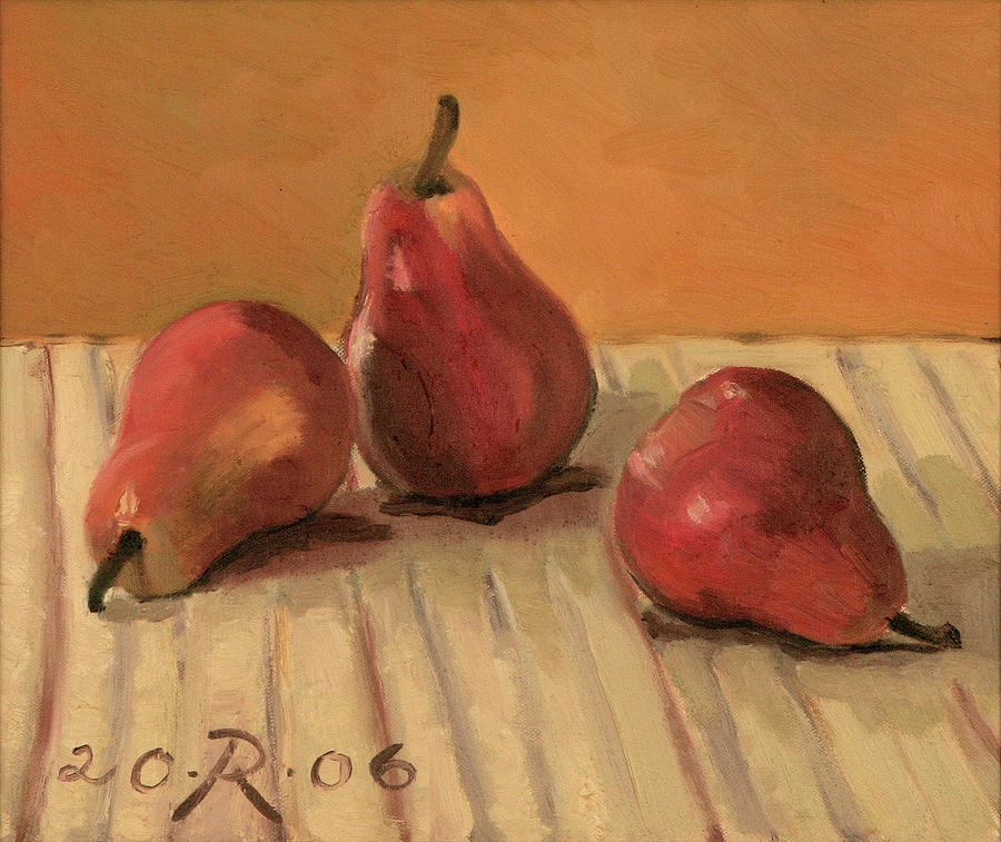 Three Red Pears Painting by Raimonda Jatkeviciute-Kasparaviciene
