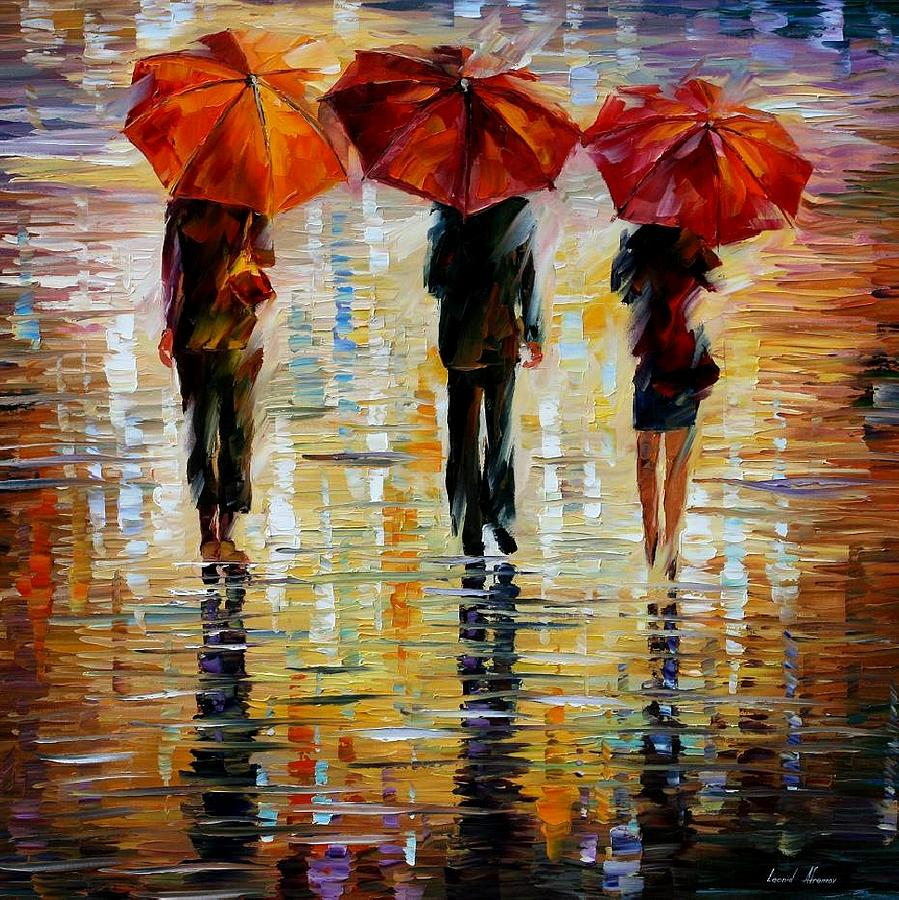 Cityscape Painting - Three Red Umbrella by Leonid Afremov