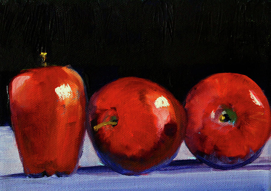 Red Delicious Painting - Three Reds by Nancy Merkle