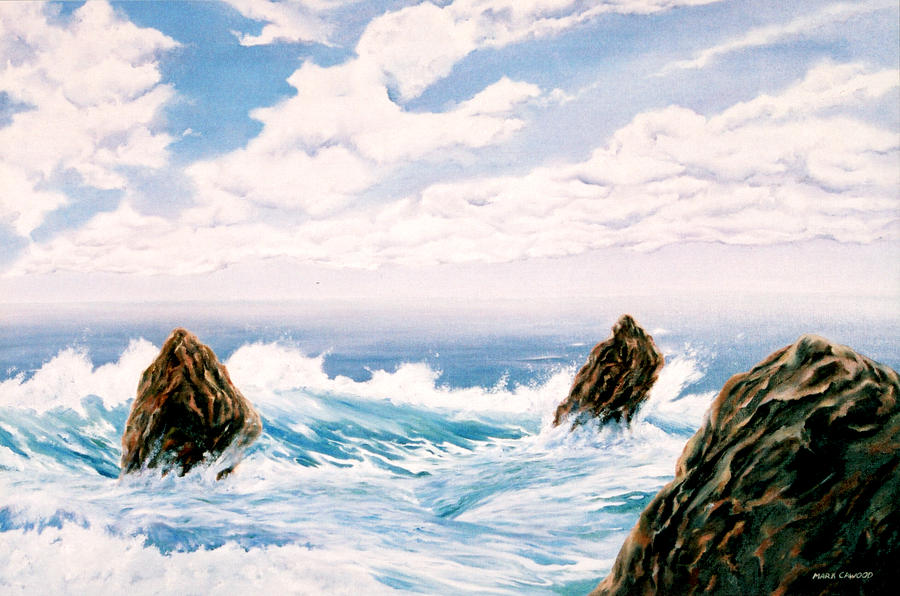 Seascape Painting - Three Rocks by Mark Cawood