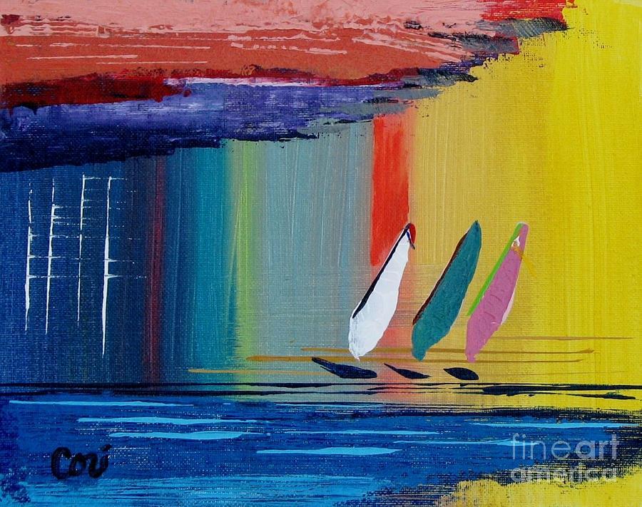 Sail Painting - Three Sails by Corinne Carroll