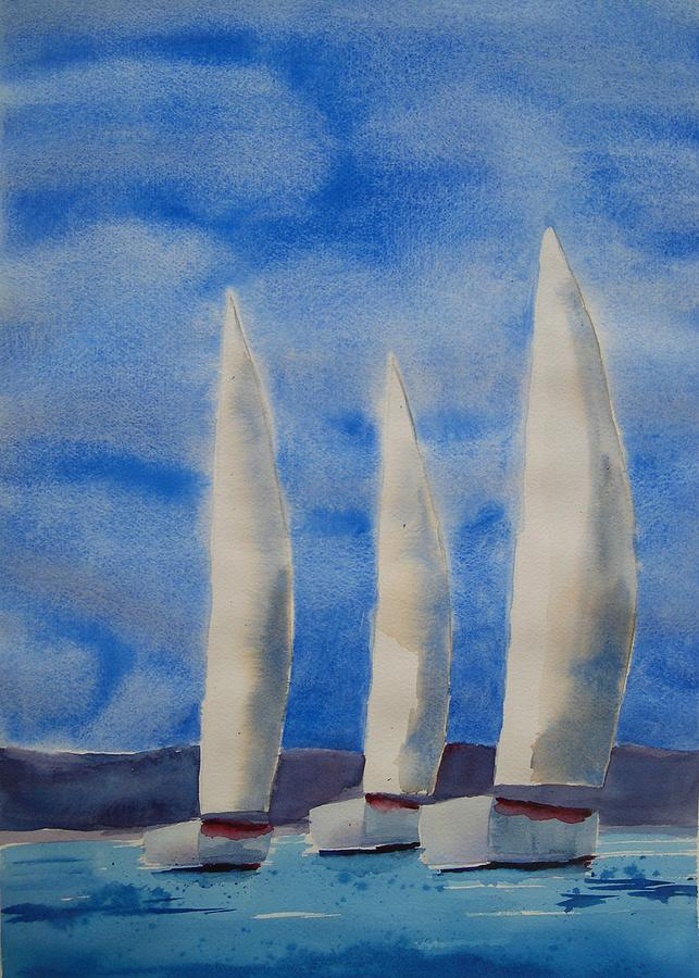 Boat Painting - Three Sails by Patricia Caldwell