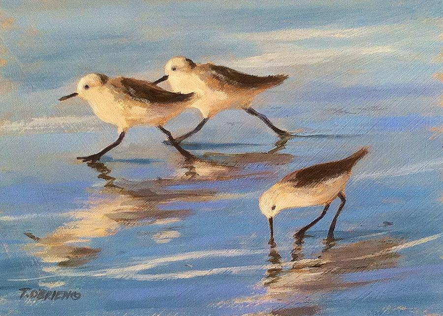 Cottage Painting - Three Sandpipers by Tina Obrien