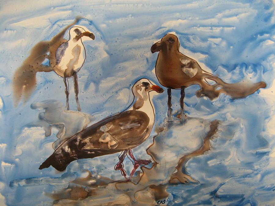 Seagulls Painting - Three Seagulls by Kitty Schwartz