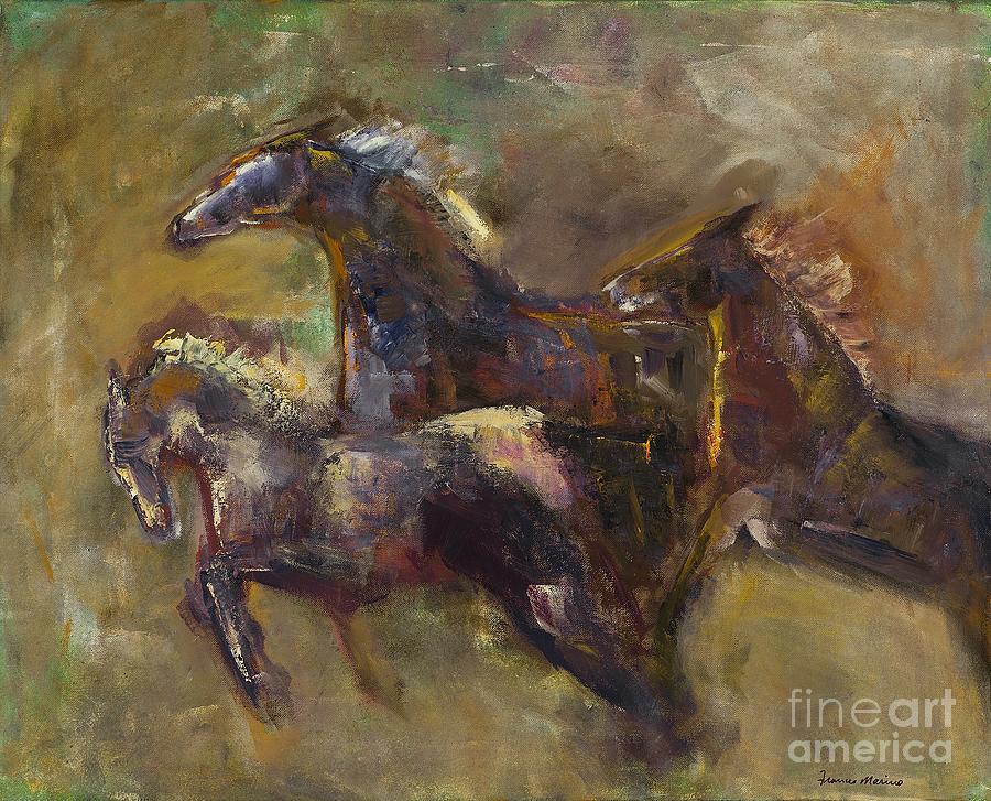 Horses Painting - Three Set Free by Frances Marino