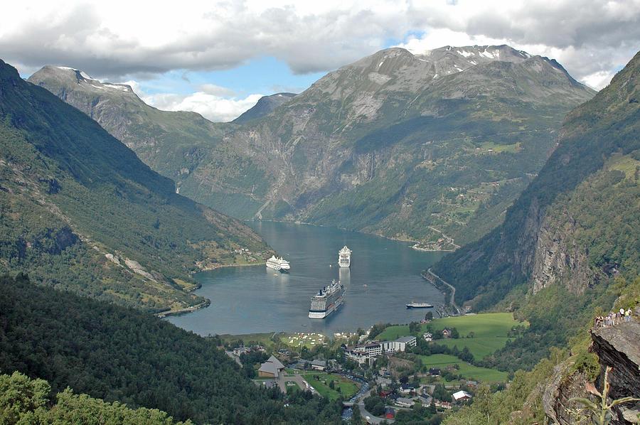 Ship Photograph - Three Ships At Geiranger Fjord by Deni Dismachek