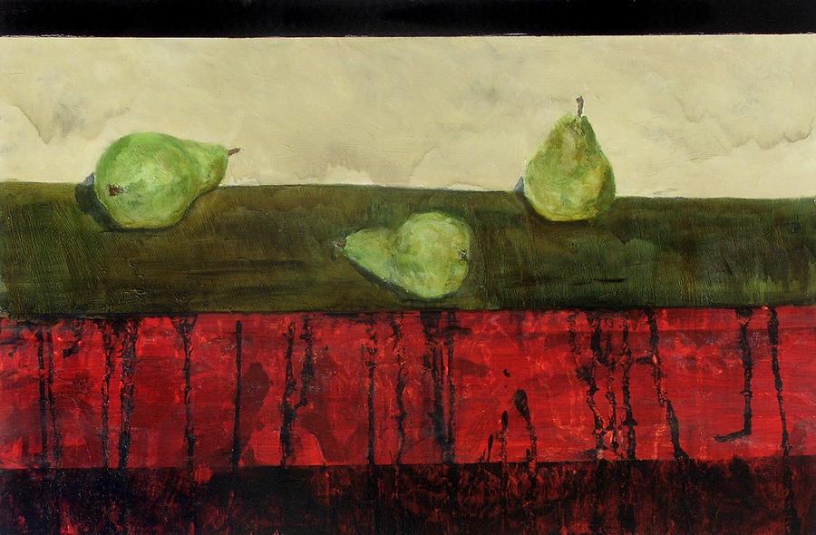 Pears Painting - Three Sides Of Pears by Ellen Beauregard