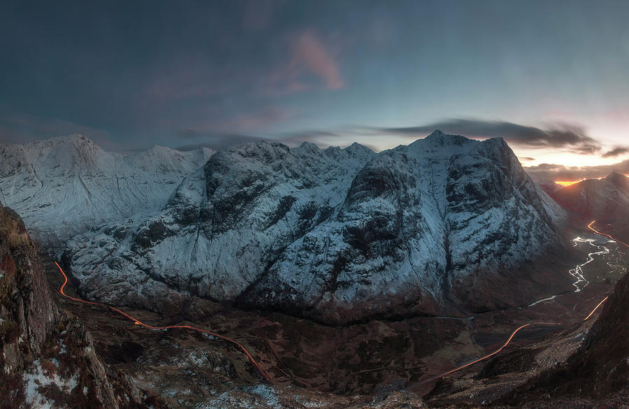 Am Bodach Photograph - Three Sisters after dark  by Glen Sumner