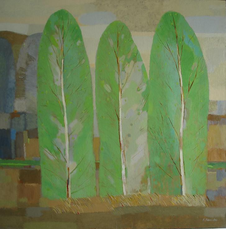 Landscape Painting - Three Spring Birch Trees by Evgeny  Novoselov