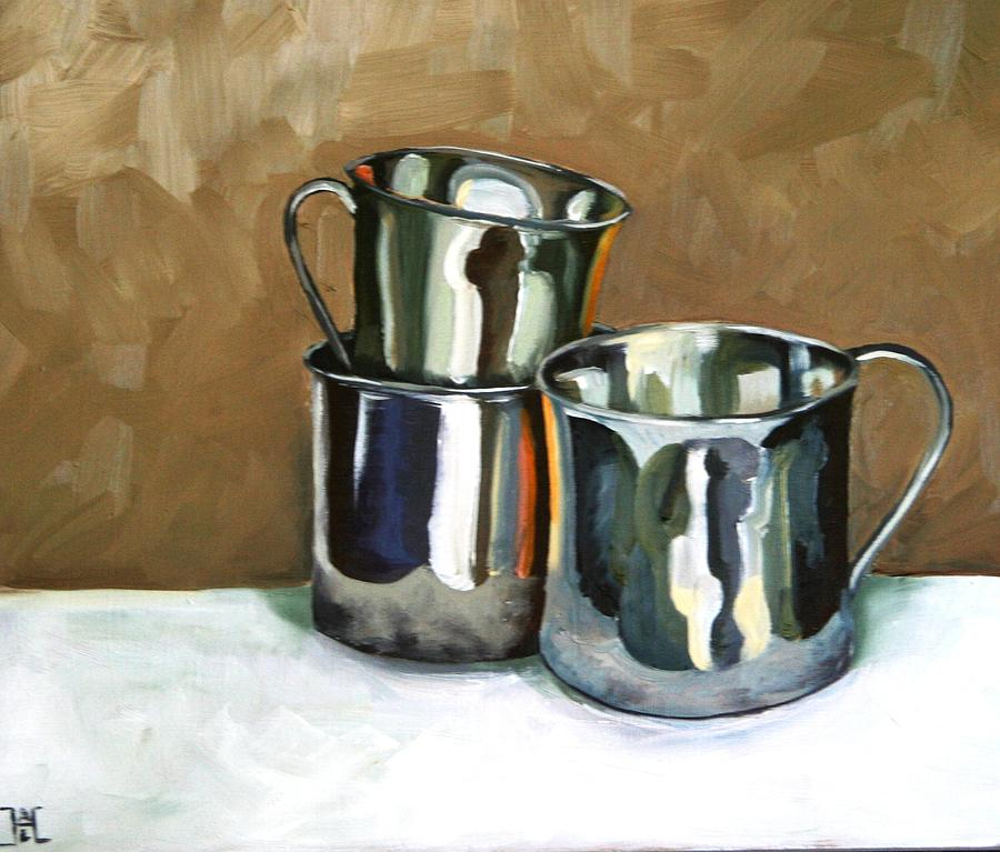 Sterling Silver Painting - Three Sterling Cups by Amy Higgins