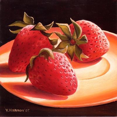 Still Life Painting - Three Strawberries by Varvara Harmon