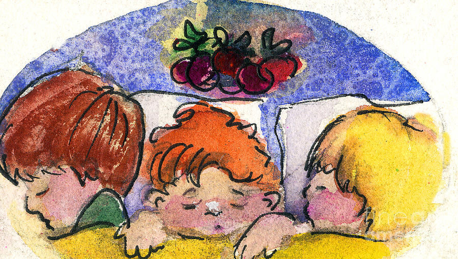 Christmas Painting - Three Sugar Plum Dreamers by Mindy Newman