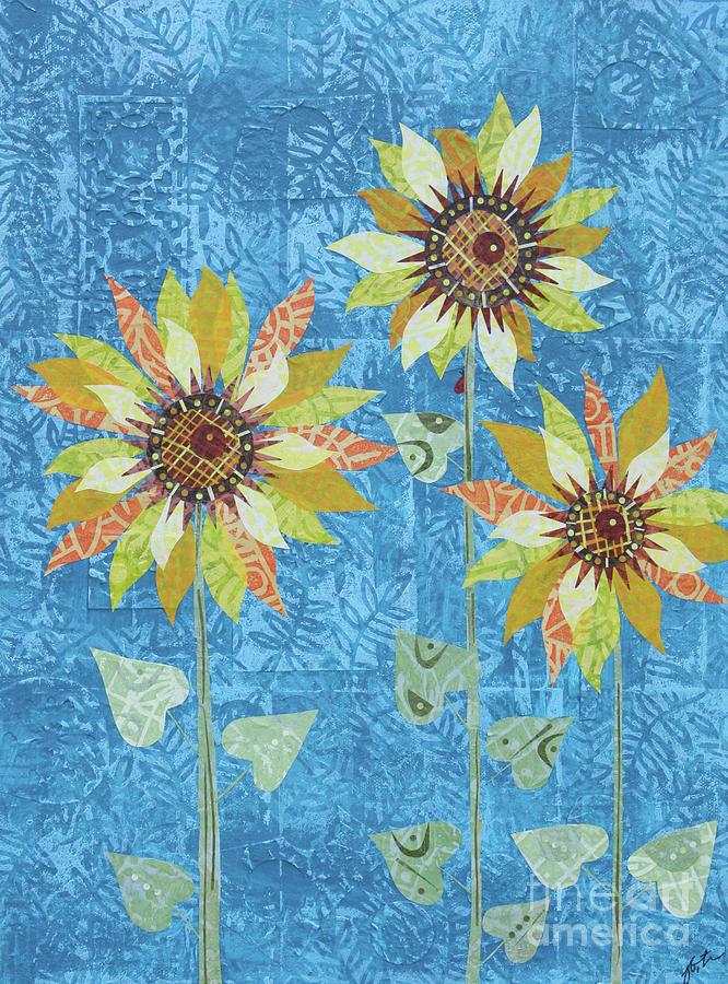 Art Collage Mixed Media - Three Sunflowers by Janyce Boynton