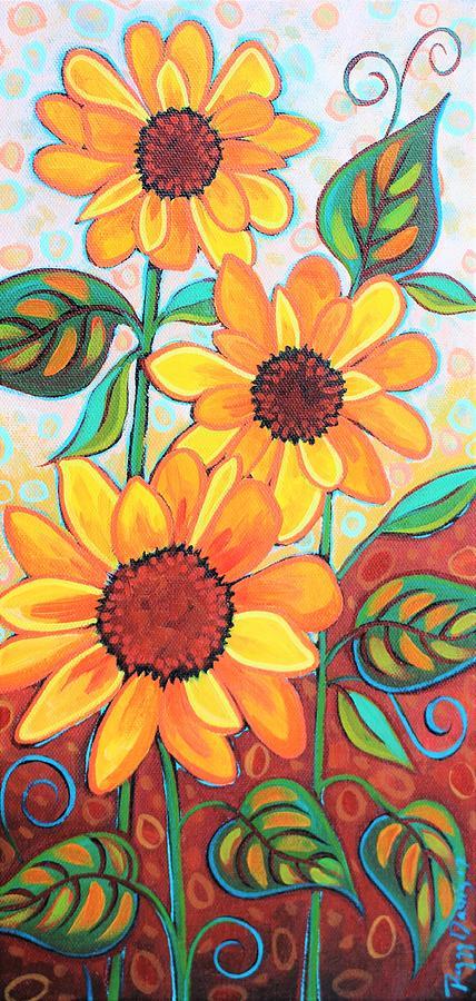 Three Sunflowers Painting by Peggy Davis