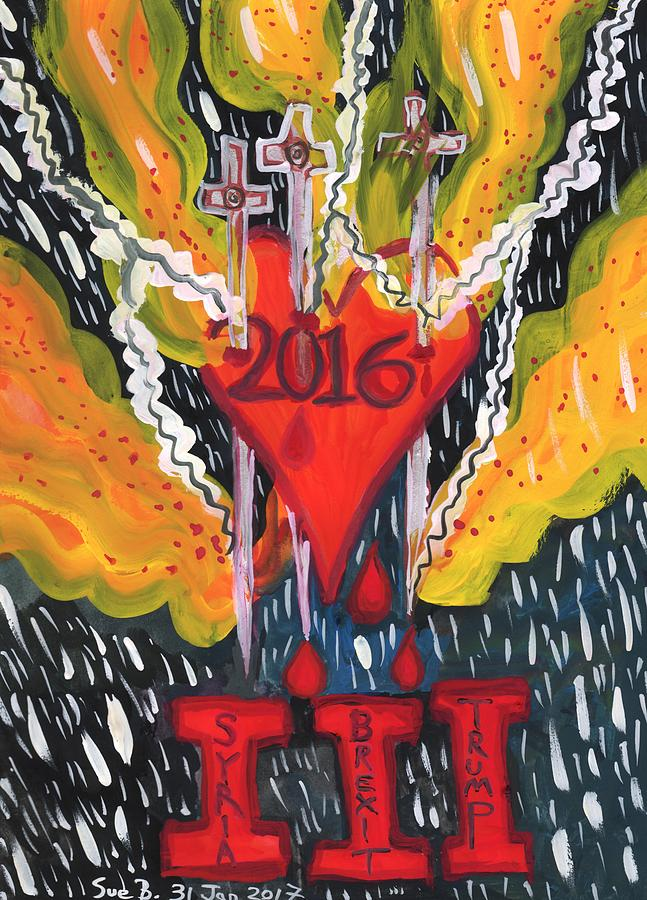 Brexit Painting - Three Swords of 2016 by Sushila Burgess