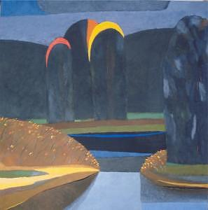 Blue Painting - Three Trees In Grey by Evgeny  Novoselov