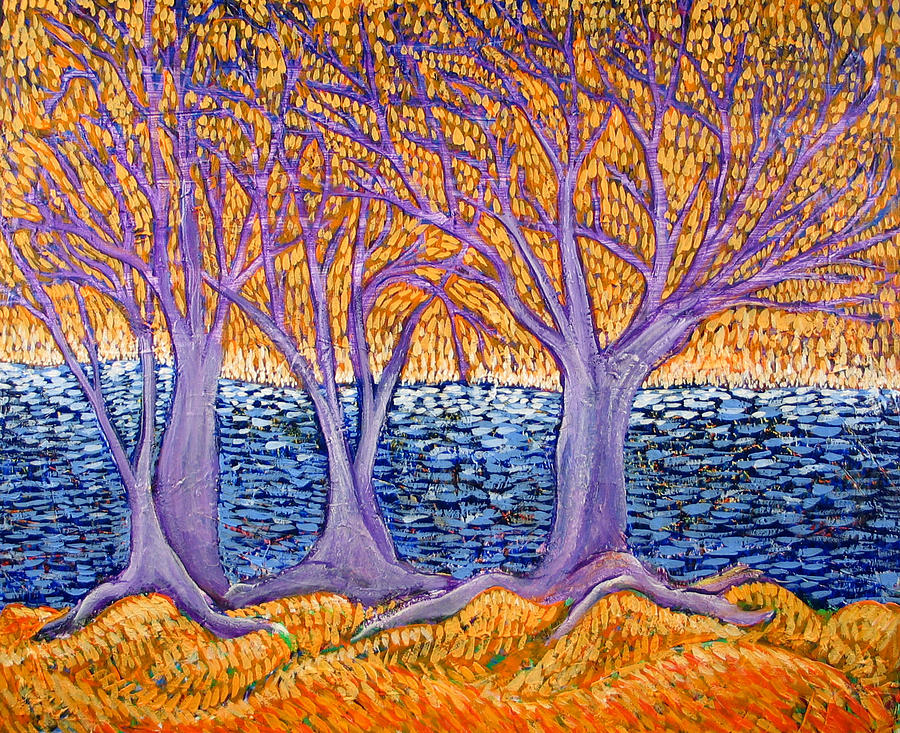 Landscape Painting - Three Trees by Rollin Kocsis
