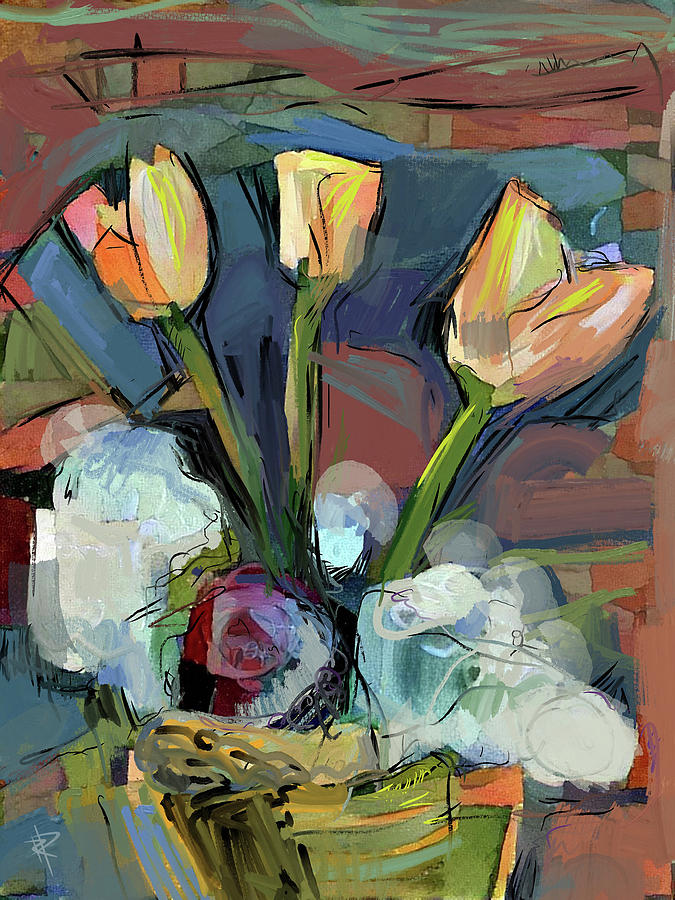 Floral Arrangement Mixed Media - Three Tulips by Russell Pierce