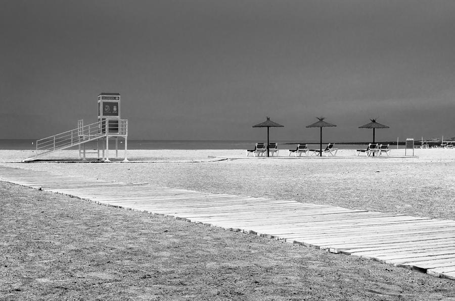 Boardwalk Photograph - Three Umbrellas by Bert Geoghegan