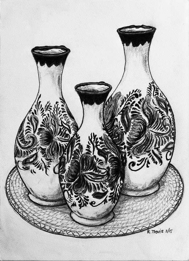 Vase Drawing - Three Vases by Rich Travis