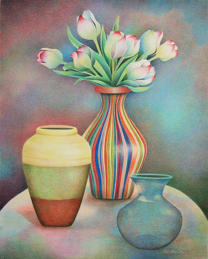 Three Vases Drawing By Rita Niblock