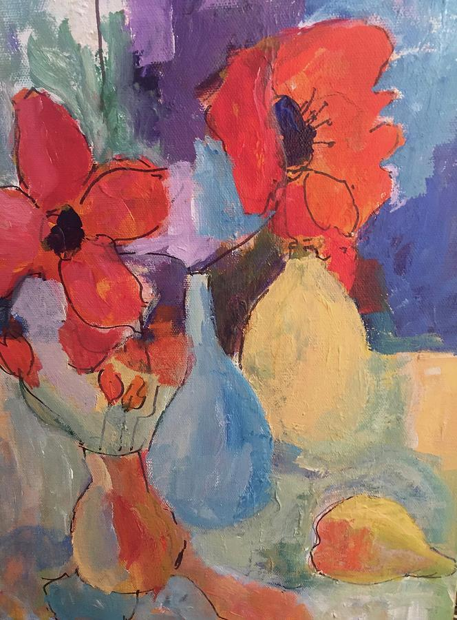 Three Vases With Flowers Painting By Carol Stanley